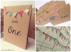 Bunting On the day wedding stationary by FromLeoniWithLove. Bunting wedding invitation, bunting table number, bunting place cards.