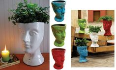 Ceramic Head Planter - Green