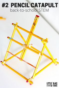 Build a catapult out of pencils! Try this Number 2 Pencil Catapult back To School STEM Activity for Kids.