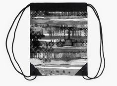 """Black & White Lines"" Drawstring Bags by bubbliciousart 