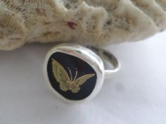 Broken China Ring Chaney Sterling Silver  Gold  Butterfly on Black Any Size by MaroonedJewelry on Etsy