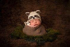 Newborn Raccoon Hat Photography Prop by AdorableBabyCreation