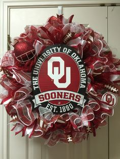 University of Oklahoma Sooners deco mesh wreath by Twentycoats Wreath Creations Ou Football, Football Wreath, College Football, University Of Oklahoma, Oklahoma Sooners, Diy Wreath, Wreath Crafts, Cowboys Wreath, Sports Wreaths