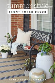 Rambling Renovators: Front Porch Decorating Ideas For The Summer fresh traditional front porch decor with sitting bench and striped Annie Selke rug Summer Front Porches, Small Front Porches, Summer Porch, Porch Decorating, Decorating Ideas, Summer Decorating, Decor Ideas, Diy Ideas, Bench Decor
