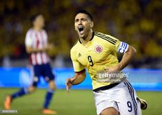 Radamel Falcao of Colombia celebrates after scoring the opening goal during a match between Colombia and Paraguay as part of FIFA 2018 World Cup. Carlos Valderrama, Fifa, World Cup, Polo Ralph Lauren, Soccer, Goals, Baseball Cards, Celebrities, People
