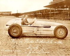 1950 - Johnnie Parsons' (#1) Kurtis Kraft-Offenhauser - Qualified: 5th, Speed (132.040 mph) Finished: 1st, Led 119 Laps - Rain Shortened to 138 Laps - Race Time: 2:46:55.97
