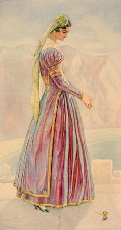 Greek Bridal Dress (Ionian Islands, Lefkas) - Greek Costume Collection by… Greek Traditional Dress, Traditional Outfits, Greece Costume, Ancient Greek Costumes, Greek Dancing, Greek Dress, Rare Clothing, Greek History, Greek Culture