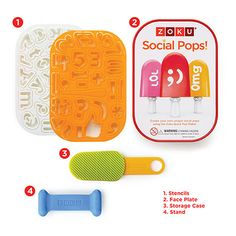 """Now your pops can be just as social as you are. Use Zoku's letters, numbers and symbols to create fun text messages, emoticons, abbreviations, """"likes"""", names and more! Use with any size Zoku Quick Pop Maker, share with your BFFs and watch your pops go viral. #963227 $19.99 www.lambertpaint.com"""