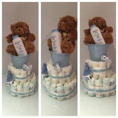 Blue bucket 2 tier nappy cake