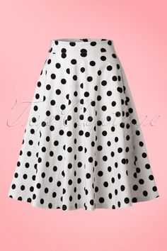 Steady Clothing TopVintage Exclusive 1950s Poppie Polka Dot Thrills Swing Skirt in White and black print  jaren 50 retro stijl rok wit zwart stippen