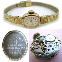 VINTAGE HAMILTON 10K Gold Filled 17 JEWELS WATCH / LORUS MICKEY MOUSE / BRA CLIP $189 .. we sell more VINTAGE WOMENS WATCHES at http://www.TropicalFeel.com