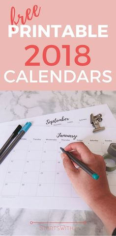 I'm going to get a head start on planning for 2018 with this gorgeous, minimal calendar! #calendar #freeprintable #printable #2018