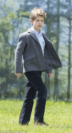James, Viscount Severn, looked older than his eight years dressed in a smart grey jacket (at the Royal Windsor Horse Show, May 2016)