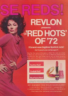1972 Revlon Cosmetics Ad Red Hot Lipsticks Sexy by AdVintageCom
