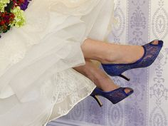 Blue Lace Wedding shoes shown in Rio Sapphire, but is also available in white, ivory as well as an additional 100 colors. We can also color match a sample you send us! This delicate lace bridal shoe looks great in white or ivory lace for a traditional bridal look or dyed to match your