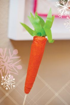 Crepe paper carrots (would be fun to wrap up small toys or treats inside)-- or as an invitation!