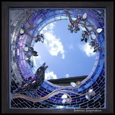 Raven-Moon-Mixed-Media-Mosaic-with-Mother-of-Pearl-Swarovski-Crystal-Lucite-flowers-copper-and-glass-by-Intrinsic-Designs. Mirror Mosaic, Mosaic Art, Mosaic Glass, Mosaic Crafts, Mosaic Projects, Mosaic Ideas, Sicis Mosaic, Cool Ideas, Flower Pattern Design