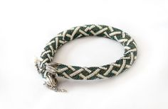 Bead Crochet Necklace Geometric steel green and white от Nikita551, $80.00