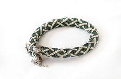 Bead Crochet Necklace, Geometric steel green and white Ornament,   Minimalist, Beadwork, Bead crochet rope. Seed beads jewelry