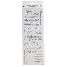 I Love You Soulmates Phrase Clear Scrapbook Stickers