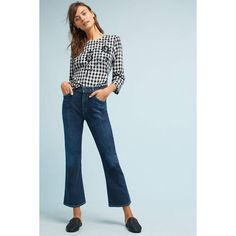 Citizens of Humanity Fleetwood Crop High-Rise Flare Jeans ($218) ❤ liked on Polyvore featuring jeans, denim dark, high-rise flared jeans, high rise jeans, flared cropped jeans, high waisted jeans and high waisted denim jeans