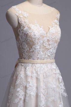 Vintage Lace Wedding Dress Handmade Sheer Mesh Tulle by loveinprom