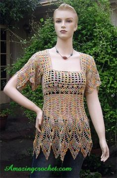 AMAZINGCROCHET piña Top Crochet patrón MEJOR VENTA