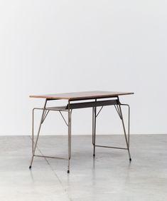 Willy van der Meeren; Enameled Metal and  Wood Desk for Tubax, 1953.