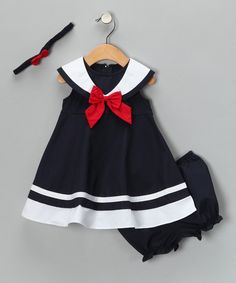 Navy Nautical Dress Set - Infant, Toddler & Girls