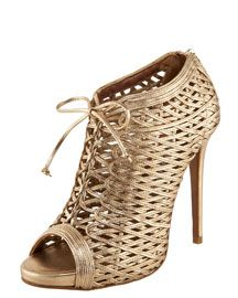 Tabitha Simmons Lace-Up Metallic Lattice Bootie 1695.00 if only it was purple