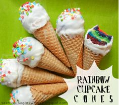 St. Patrick's Day Craft: Rainbow Cupcake Cones!      Never bake cupcakes INSIDE of the cone again! These mini faux ice cream cones that we call Rainbow Cupcake Cones are incredible easy and won't get soggy like those other cupcake cones