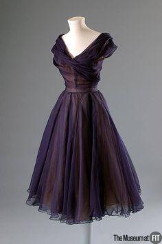 Dior ~ 1950 ~ Blue silk chiffon and ivory silk organza