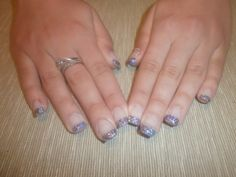 Purple glitter Gel nails #purple #nails #glitter #gel #engaged #engagement #rings