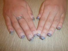 Purple glitter Gel nails #purple #nails #glitter #gel #engaged #engagement #rings