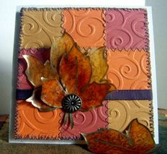 """Quilted Lovely Leaves"" Seasonal Greeting Card with DIY Autumn Leaf Embellishments by Debbie Do -- Cards and Paper Crafts at Splitcoaststampers"