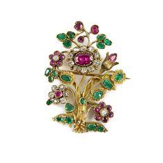 19th century ruby, emerald, diamond and gold giardinetti brooch, c.1830,