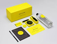 """yellow black branding If 2012 is going to see the end of the world, you may as well go out with some attractive branding! Design studio MENOSUNOCEROUNO created Just In Case, """"an end-of-the-world survival kit"""" or """"the perfect brand for the end of times"""". The kit contains six iconic products from Mexico including dark chocolate, a classic notebook, a simple knife, 40 black matches, liqueur & a bottle of water. This collection may not ensure long-term survival but you certainly will enjoy…"""