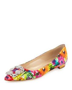Hangisi Floral-Print Buckle Flat, Multi by Manolo Blahnik at Bergdorf Goodman.