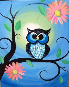 This 16X20 canvas painting depicts a brightly colored owl sitting on a tree branch with pink & orange flowers. A great addition to any room.