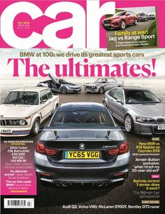 The new July 2016 issue of CAR magazine is on sale now! <ul>  	<li>BMW's 100th birthday bash! We name the greatest BMWs of the past century</li>  	<li>34-page BM special Featuring 2002 Turbo, Batmobile, E30, CSL, i8 and more</li>  	<li>F-Pace vs rivals Jag's new crossover fights Range Rover Sport and Porsche Macan</li>  	<li>All the month's big drives Volvo V90, Audi Q2, McLaren 570GT, Bentley's GT3</li>  	<li>Hot Pork We introduce new Porsche 911R to its 918, Cayman GT4 siblings</li> ...