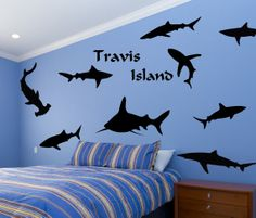 Shark Tank with Personalized Island  Vinyl Wall by route3studios, $45.00