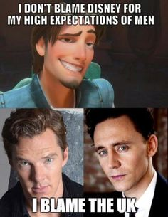 Benedict Cumberbatch from Sherlock and Tom Hiddleson from Thor  I like this (esp as I'm from the UK too)