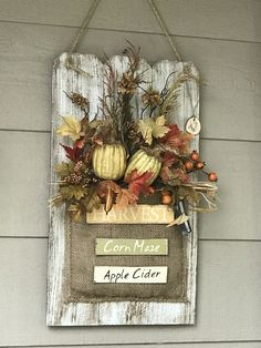 Wall Hanging Flower Arrangements Etsy Ideas For 2019 Hanging Flower Arrangements, Fall Arrangements, Pumpkin Decorating, Porch Decorating, Fall Crafts, Diy And Crafts, Diy Wood Wall, Burlap Wall Decor, Handmade Wall Hanging