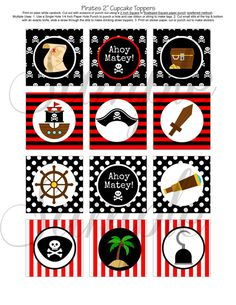 piratas toppers Pirate Hook, Ahoy Matey, Pirate Theme, Halloween Disfraces, Party Printables, 5th Birthday, Cupcake Toppers, Paper Dolls, Party Planning