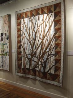 """Trees Quilt by Tim Latimer. Inc: """"Male Call: Quilts Made By Men"""" at the Rocky Mountain Quilt Museum, February 2012 Love design and border by graciela Quilting Projects, Quilting Designs, Quilting Ideas, Tree Quilt, Quilt Art, Art Quilting, Landscape Art Quilts, Landscapes, Dear Jane Quilt"""