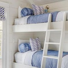 White Bunk Beds with Rope Pulls