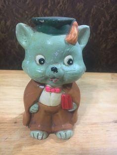 Vintage Norleans Japan Cat Piggy Bank Professor Graduate