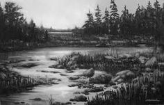 Charcoal landscape drawing crazy