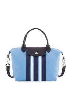 LONGCHAMP Le Pliage Ciur Raye Small Hobo Bag, Blue/Multi. #longchamp #bags #shoulder bags #hand bags #leather #hobo #lining #