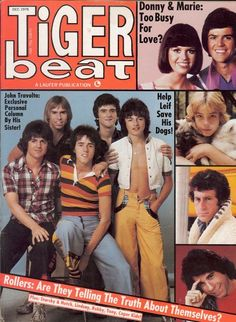 Tiger Beat-Bay City Rollers, Donny and Marie, John Travolta, Paul Michael Glaser. Some of the heartthrobs of the 70's.